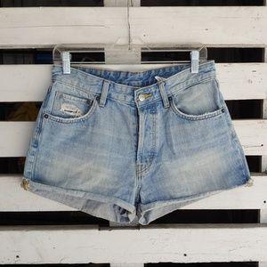 H&M high waist denim shorts.